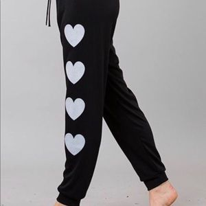 Pants - Black Lounge Pants With White Hearts